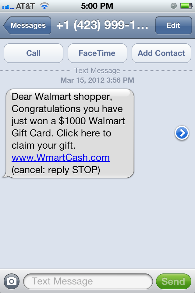 Fraudulent Walmart Gift Card Text Message