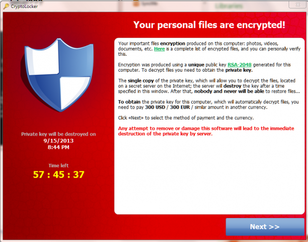 CryptoLocker Screen IMage
