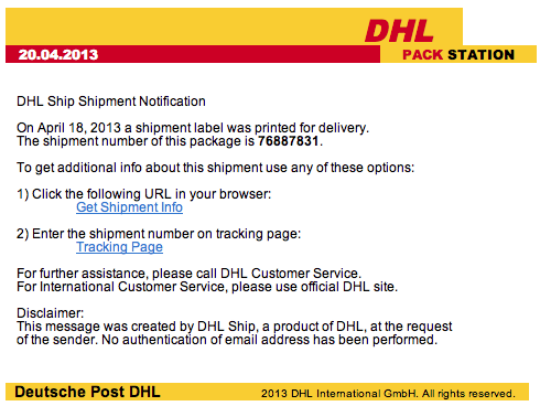 DHL Shipment Notification Email