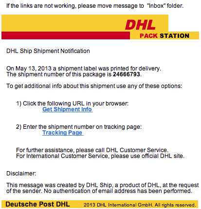 Fake DHL Email Phishing Scam