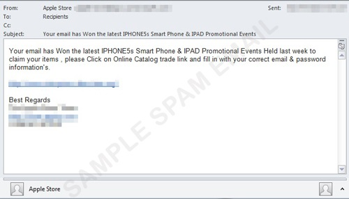 Sample iPhone 5S phishing email