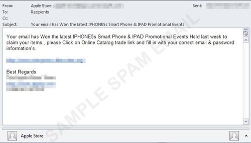 Sample iPhone 5S phishing email