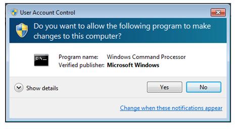 Windows Command Process message box